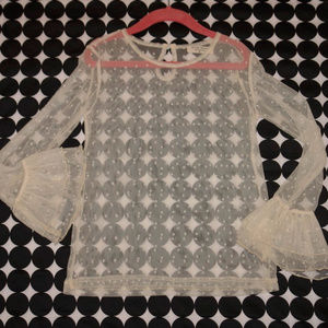 Adorable Essentials Ivory Sheer Layering Top Sz 8